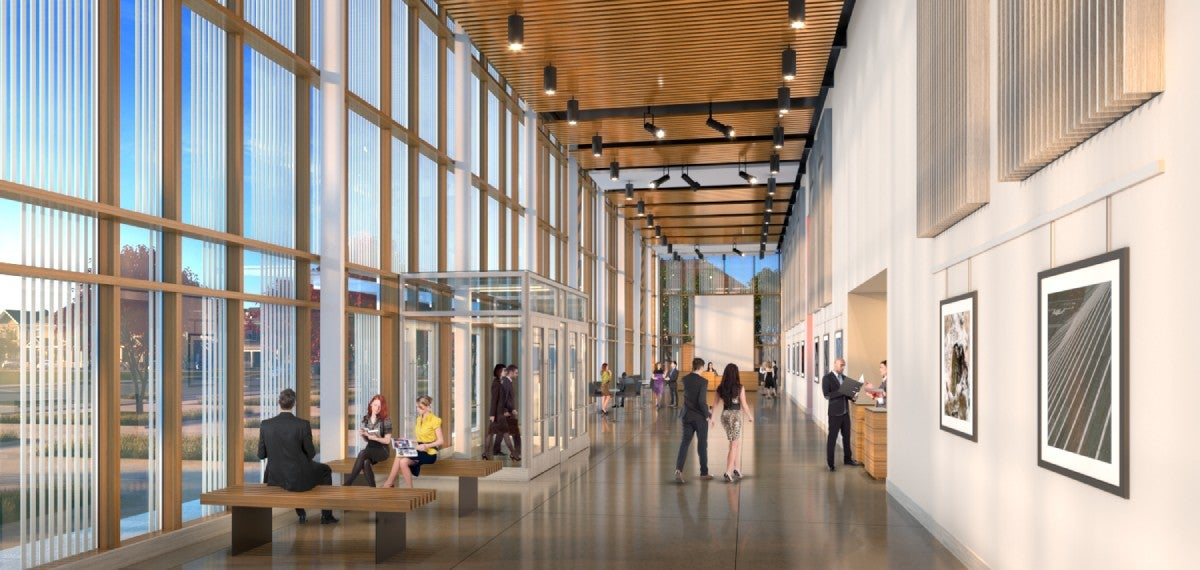 rendering of people sitting and walking through the center gallery