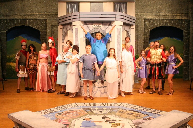 full ensemble in final scene of a funny thing happened on the way to the forum