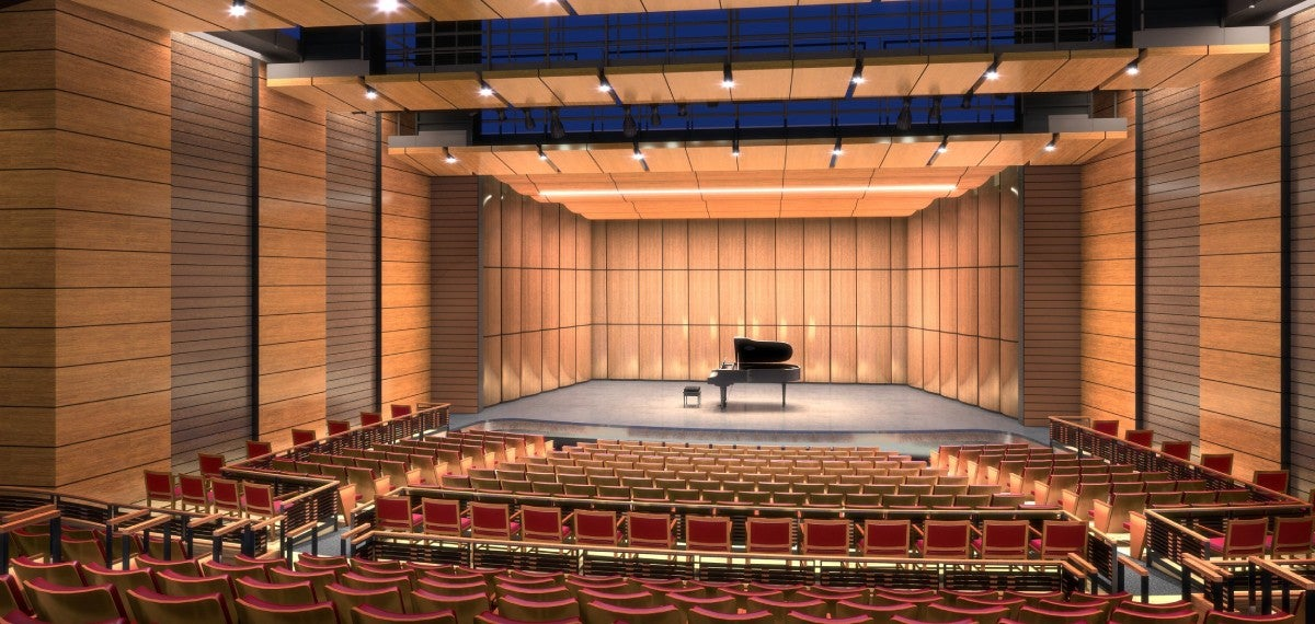 view of stage with grand piano from empty seats